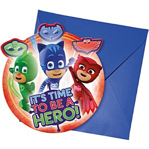 PJ Masks invitations with envelope, 6 pcs